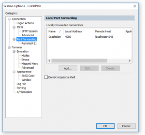 secure CRT with crashplan settings